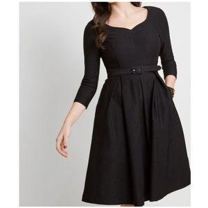 Modcloth Fit Flare Black Dress 3/4 Sleeve Midi